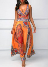 Overlay Embellished Dashiki Print V Neck Orange Jumpsuit