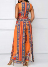wholesale Overlay Embellished Dashiki Print V Neck Orange Jumpsuit