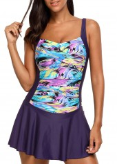 Twist Front Ruched Printed Padded Swimdress