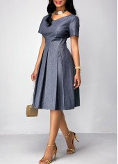 wholesale Band Waist Short Sleeve Pleated Dress