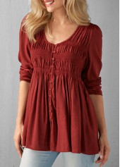 wholesale Button Up Pleated Wine Red Blouse