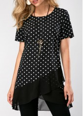 Polka Dot Print Asymmetric Hem Short Sleeve Blouse