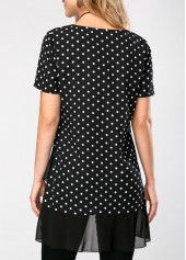 wholesale Polka Dot Print Asymmetric Hem Short Sleeve Blouse