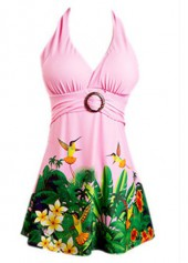 Halter Neck Printed Swimdress and Shorts