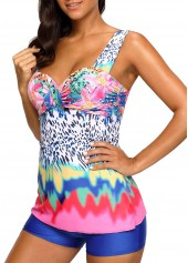 wholesale Wide Strap Printed Padded Tankini Set