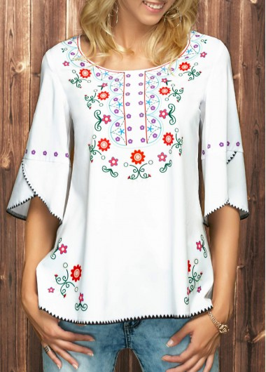 Buy online Scoop Neck Flower Print White Blouse