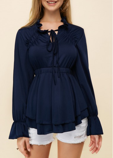 Buy online Tie Neck Flare Sleeve Layered Navy Blouse