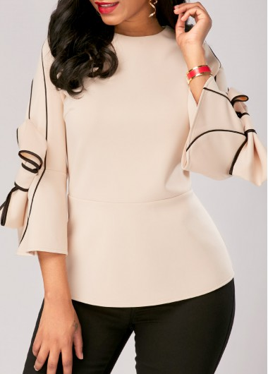 Buy online Bowknot Embellished Zipper Back Flare Sleeve Blouse