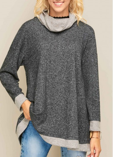 Buy online Long Sleeve Cowl Neck Asymmetric Hem Sweatshirt