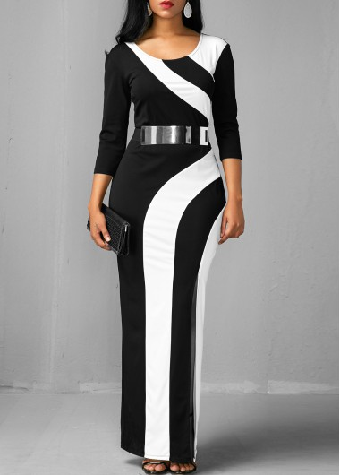 Buy online Side Slit Color Block Round Neck Maxi Dress