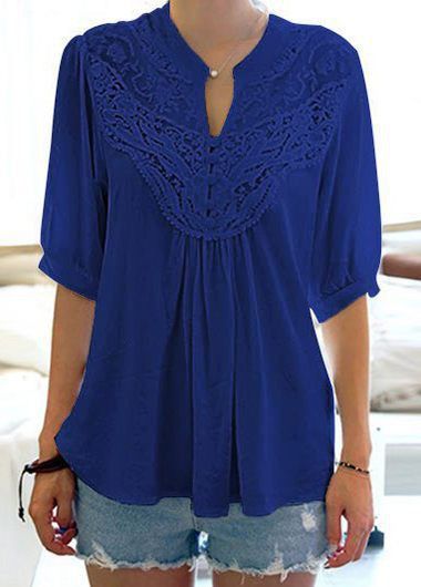 Buy online Lace Panel Split Neck Navy Blue Blouse