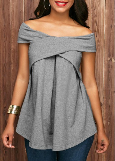 Buy online Off the Shoulder Grey Short Sleeve Blouse