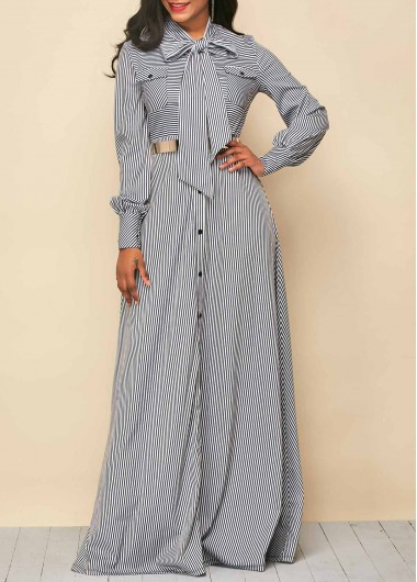 Buy online Button Up Stripe Print Tie Neck Maxi Dress