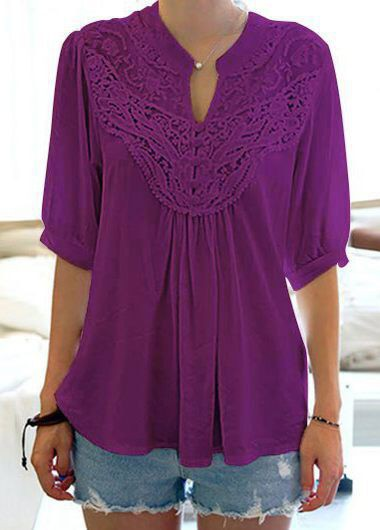Buy online Solid Purple Split Neck Half Sleeve Blouse