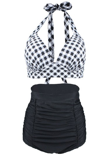Halter Plaid Swimwear Bra and Ruched Shorts