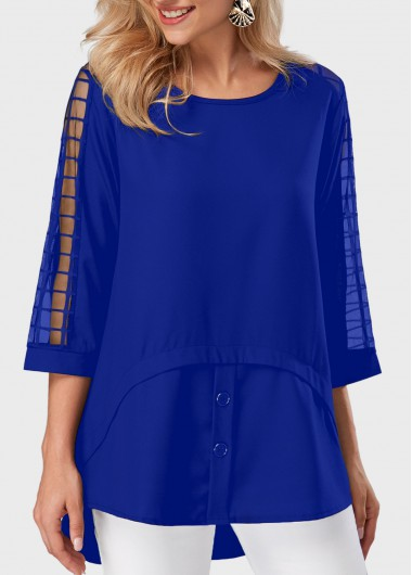 Buy online Royal Blue Asymmetric Hem Mesh Panel Blouse