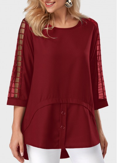 Buy online Round Neck Asymmetric Hem Mesh Panel Burgundy Blouse