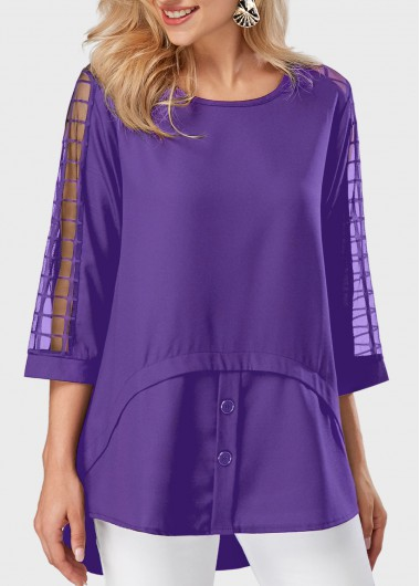 Buy online Asymmetric Hem Mesh Panel Round Neck Purple Blouse