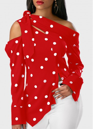 Buy online Polka Dot Print Asymmetric Hem Long Sleeve Red Blouse