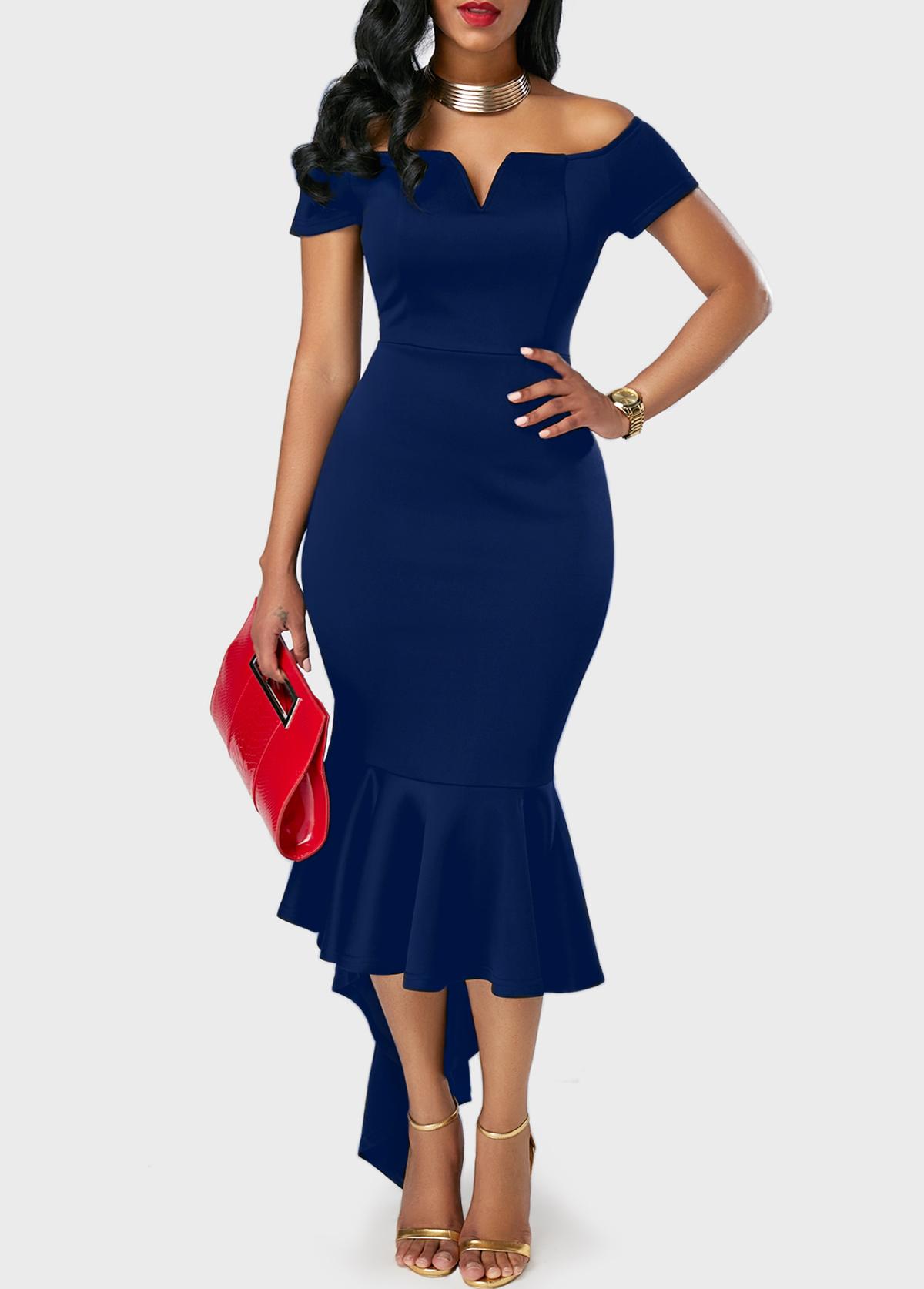Peplum Hem Split Neck Navy Blue Bardot dress