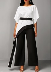 wholesale Batwing Sleeve Belted Top and Black Pants