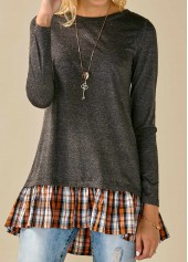 wholesale Long Sleeve Plaid Print Dark Grey Blouse