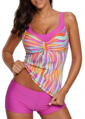 Scoop Neck Printed Swimwear Top and Shorts