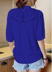 wholesale Lace Panel Split Neck Navy Blue Blouse