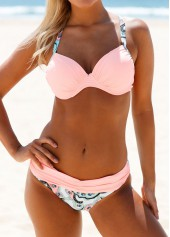 wholesale Printed Criss Cross Back Pink Bikini Set