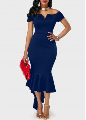 Peplum Hem Split Neck Navy Blue Bardot dress