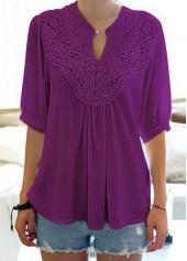 wholesale Solid Purple Split Neck Half Sleeve Blouse