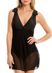 V-Neck-Bowknot-Detail-Mesh-Panel-One-Piece-Swimdress