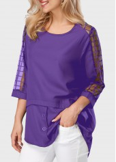 wholesale Asymmetric Hem Mesh Panel Round Neck Purple Blouse