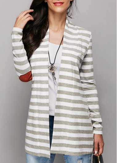 Buy online Grey Open Front Stripe Print Patchwork Cardigan