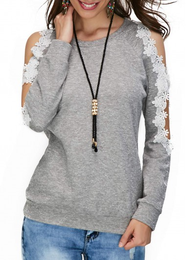 Buy online Lace Panel Grey Long Sleeve Blouse