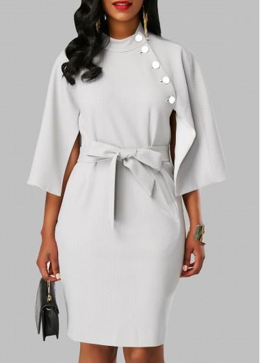 Cape Sleeve Back Slit Belted Dress
