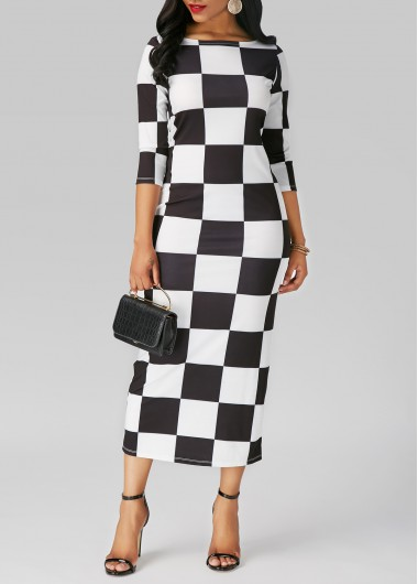 Buy online Plaid Print Three Quarter Sleeve Midi Dress