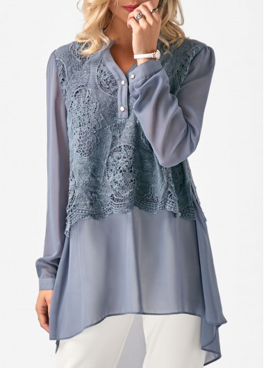 Buy online Lace Panel Long Sleeve Chiffon Blouse