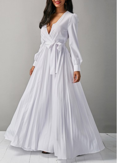 Buy online Belted V Neck Long Sleeve White Maxi Dress