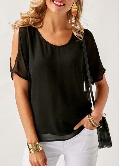 Buy online Cold Shoulder Asymmetric Hem Patchwork Black Blouse