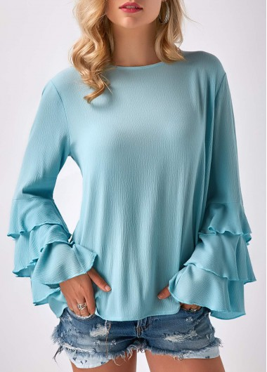 Buy online Layered Bell Sleeve Round Neck Blue Blouse