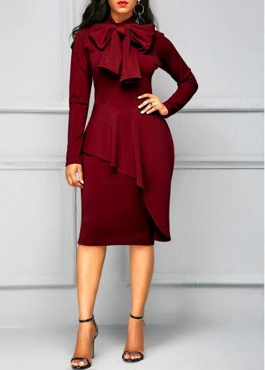 Buy online Tie Neck Peplum Waist Long Sleeve Dress
