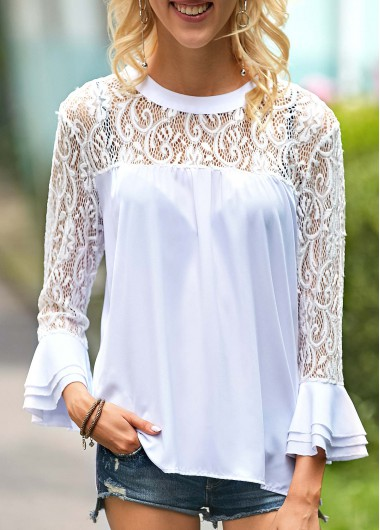 Flare Sleeve Pierced White Round Neck Blouse - XL