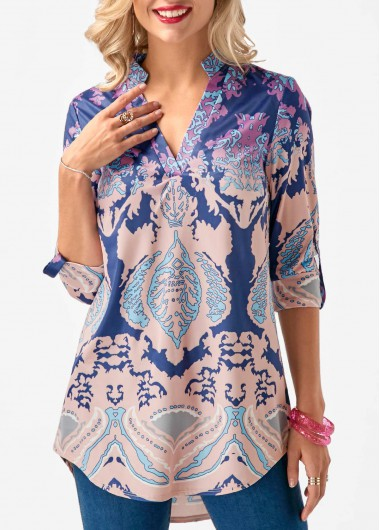Buy online Roll Tab Sleeve Printed Curved Blouse