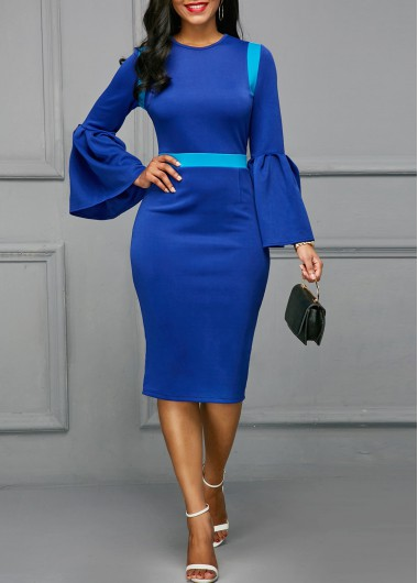 Buy online Flare Sleeve Back Slit Patchwork Blue Skinny Dress