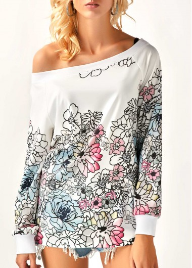 Buy online Skew Neck Long Sleeve Printed Blouse