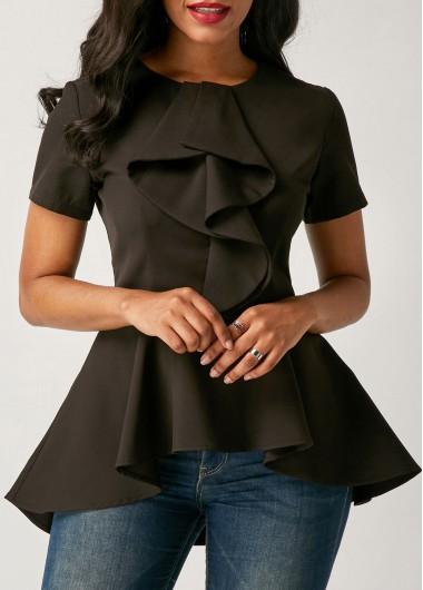 Buy online Asymmetric Hem Short Sleeve Black Flouncing Blouse