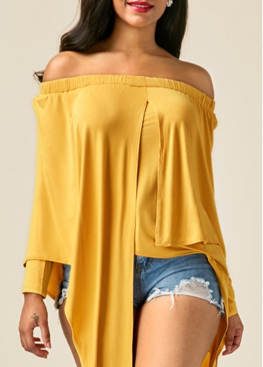 Buy online Yellow Asymmetric Hem Long Sleeve Bardot Blouse