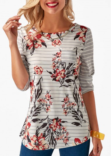 Button Back Printed Round Neck T Shirt