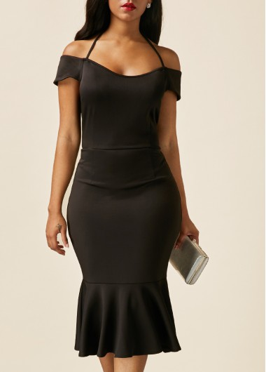Buy online Black Off the Shoulder Peplum Hem Dress